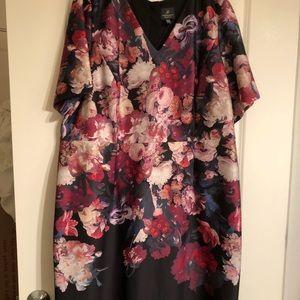 Scuba sheath dress in rose print